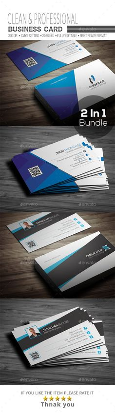 Business Card Bundle 2 In 1 - Corporate #Business #Cards Download here: https://graphicriver.net/item/business-card-bundle-2-in-1/19754850?ref=alena994