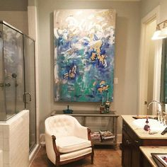 """Acrylic Abstract Art Large Canvas Custom Painting Blue, Taupe, Teal, Silver, Gold and Cream colored 48"""" x 72"""" real silver and gold leaf SOLD"""
