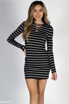 Bodycon Crisscross V Neck Cute Striped Jersey Dress with Sleeves Cute Casual  Dresses 1b1332bea