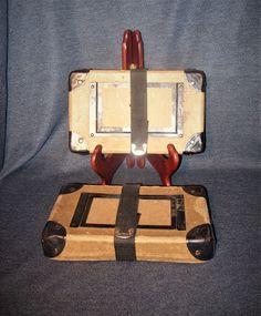 2 VTG 50s Reinforced Fiberboard Film Can Mailing Boxes w/ Hook & Loop Straps EUC #UnbrandedGeneric