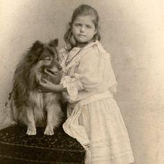 1890s LITTLE GIRL & GERMAN SPITZ DOG CDV PHOTO VICTORIAN CARTE DE VISITE ANTIQUE