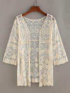 Open-Front Floral Lace Cardigan