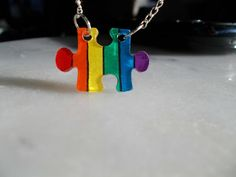 rainbow gay lesbian puzzle piece necklace LGBT pride by Lupeshop, $7.50