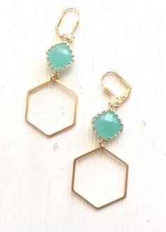 Gold Hexagon Earrings with Aqua Stones. Mint Dangle Earrings. Drop Earrings. Jewelry. Gold and Mint Geometric Earrings. Gift. Jewelry.