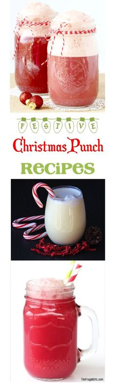 6 Easy Christmas Punch Recipes! The perfect festive party punches to serve up at your holiday parties! Easy to make and SO delicious! | TheFrugalGirls.com