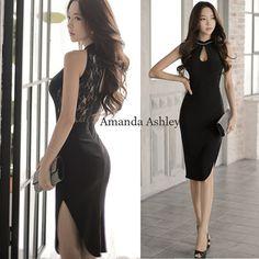 BUYMA.com ★背中見せ&透けレース♪グラマラスホルターネック黒ドレス★(22428079)