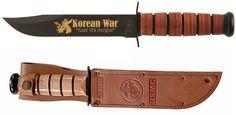 "KA-BAR 9106 U.S.M.C. Korean War 50th Commemorative Knife  Weight: 0.70                             Overall length: 11 7/8"" Blade Length: 7""                     Blade Shape: Clip Point Blade Stamp: U.S.M.C.           Steel: 1095 Cro-Van Edge Angle: 20                         Grind: Flat Sharpened : 20/20                     Serrated: No Butt Cap/Guard: Powdered Metal / 1095 Carbon HRC Rating: 56-58                   Handle:  Leather Made In Olean, New York, U.S.A. www.tomarskabars.com"