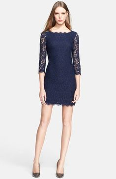 Too short for me, but like the sleeves and neckline, color and lace  Diane von Furstenberg 'Zarita' Lace Sheath Dress available at #Nordstrom