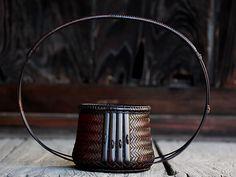 【一点限り】塩月寿籃作 満月 花籠 竹工芸品 bamboo 虎斑竹専門店 竹虎