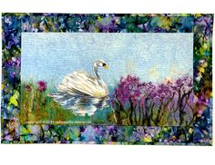 Mute Swan at Marsh Art Quilt, Waterscape, Quilted Wall Hanging, Arcadia Marsh Fibre, Original Fiber Art, 17 X 28 inches, Fine Art Wall Decor