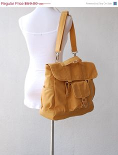 ANNIVERSARY SALE 20% - Pico2 Backpack Convertible in Mustard (Water Resistant) Unisex / Laptop / Shoulder Bag / Satchel / Rucksack / Messeng by nottoc on Etsy https://www.etsy.com/listing/98531986/anniversary-sale-20-pico2-backpack
