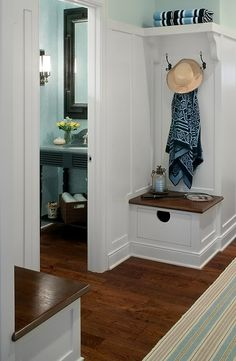 Corner built-in mudroom benches with storage.  Wonderful idea for a small space ~ Visbeen Architects