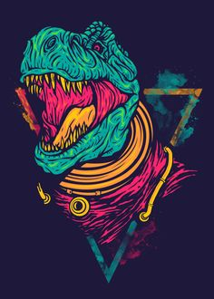 Displate Poster Space Rex dinosaurs #astronaut #space #galaxy #trex #rex