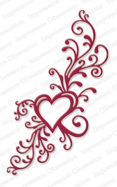 "Heart Flourish - $13.99  	 The beautiful Heart Flourish from Impression Obsession is great for Valentine's, weddings, anniversaries and more! 3 1/4"" x 5 1/4"". US-made steel dies."