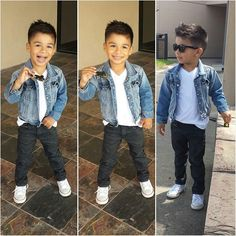I'm loving the little boys jean jacket! Toddler Boy Fashion, Little Boy Fashion, Toddler Boy Outfits, Toddler Boys, Kids Boys, Kids Fashion, Toddler Chores, Outfits Niños, Baby Boy Outfits