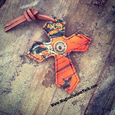 Magics Custom Tack Orange camo saddle cross with shotgun shell concho Www.magicscustomtack.com