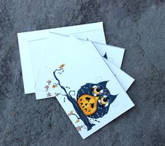 Set of 4 Halloween Owl Greeting Cards  Holiday Cards by concettasdesigns, $12.00