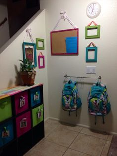 Small entry area storage great idea for daycare or preschool