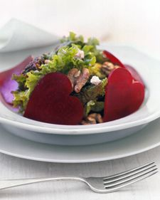 Sweetheart Salad--what a great and easy idea to make a salad festive for Valentine's Day!  Use a heart shaped cookie cutter on the beets.