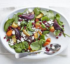 Moroccan pomegranate & roast veg salad- went well with Lorraine Pascals Moroccan roast chicken recipe. I made the dressing by boiling 5 parts white vinegar with 1 part sugar.