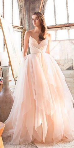 Top 27 Wedding Dresses For Celebration ❤ wedding ideas celebration dresses peach blush v neck sweetheart spaghetti straps layered skirt lazaro ❤ See more: http://www.weddingforward.com/wedding-ideas-celebration-dresses/ #weddingforward #wedding #bride #bridalgown