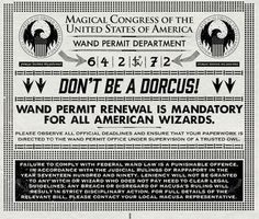 MinaLima Fantastic Beasts Artwork for the Wand Permit department of MACUSA.