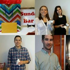 Office birthday party with sundaes.