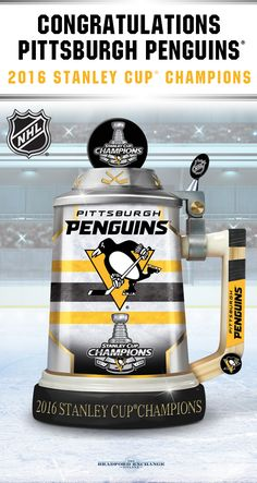 Raise a toast to the Penguins big win with this 2016 Stanley Cup Champions porcelain stein! Hurry, as there is a limited edition of only Stanley Cup Playoffs, Stanley Cup Champions, Pittsburgh Sports, Pittsburgh Penguins Hockey, Hockey Rules, Funny Hockey, Nhl Penguins, Pens Hockey, Lets Go Pens