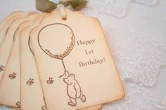 Customizable Winie the Pooh Tags First Birthday Baby Shower Pooh with Balloon Set of 10 on Etsy, $10.00