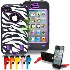 Mantes Armored Core Zebra Print Case White/Black Skin Purple Shell with built in Screen Protector for Iphone 4 4S 4G -Comparable to Otterbox Defender by Unknown, http://www.amazon.ca/dp/B00DDHHOMO/ref=cm_sw_r_pi_dp_NCVtsb0XW7TNP