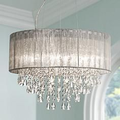 Round crystal chandelier ld gerber pinterest chandeliers possini euro metairie 20w silver fabric crystal chandelier aloadofball Images
