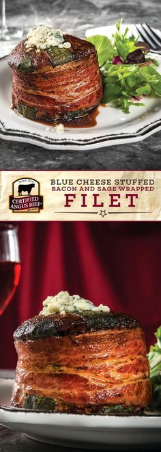 Certified Angus Beef®️️️️️️️️️️️️ brand Blue Cheese Stuffed, Bacon and Sage Wrapped Filet is an impressively FLAVORFUL dish! This tasty dinner recipe uses the BEST filet mignon, blue cheese, fresh sage, and thick-sliced bacon for the ultimate flavor profile. Perfect for a romantic meal for two! #bestangusbeef #certifiedangusbeef #beefrecipe #steakrecipes #dinnerrecipes