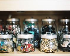 I bought a bunch of these Ikea Jars to make art supplies and their organization look like a fun part of the room. I also grabbed a medium one I filled with legos and a small one I filled with matchbox cars to use as decoration on one of the ledge shelves. Glass Storage Jars, Jar Storage, Glass Jars, Storage Ideas, Office Supply Organization, Craft Organization, Organization Station, Ikea Jars, Organizing Your Home
