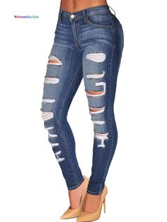 Blue Denim Destroyed Whisker Wash Skinny Jeans: The protagonist of your Outfits are a must-have. Put on a Sweet Look jean and amaze everybody! Feel yourself feminine and Cool Skinny Fit Jeans, Super Skinny Jean, Cute Ripped Jeans, Superenge Jeans, Ripped Jeggings, Torn Jeans, Blue Denim Jeans, Denim Pants, Biker Jeans