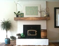 plaster over brick fireplace - Google Search