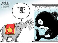 via Marlette Cartoons.  After years of entrenched cruelty, Ringling brothers circus bans elephant acts...but it won't take effect for 3 years, and there are still many performance animals suffering for the sake of cheap spectacle.