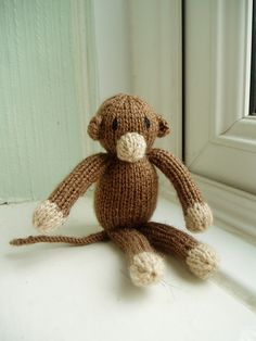 Mini Monkey - This pattern is available as a free Ravelry download The final pattern from my Mini Jungle Animals series (see also the mini lion, mini elephant and mini hippo). This little guy is only about 4 inches tall. He's got lovely long arms and legs which are easy for a baby or small child to hold.