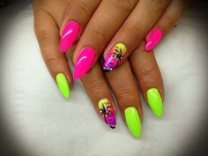 Ongles Fluo, Jolis Ongles, Ongles Courts, Ongles Vernis, Dessin Ongle,  Modele