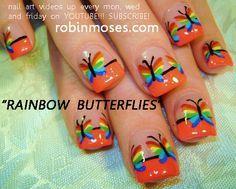 Nail-art by Robin Moses: RAINBOW BUTTERFLIES nail art design, HAWAIIAN SPLASH nail art tutorial design. simple tulips nail art design for short nails tutorials up for wednesday.