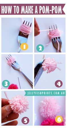 how to make a pom pom with a fork and wool or yarn. sooo old skool. there is also tutorial for a pompom garland. jellyfishprints.com.au