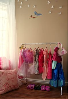 A dreamy set up for children's playroom - keep costumes and clothing organized for your very own Disney princess