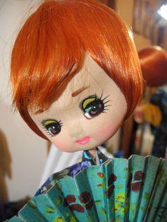 "VTG Big Eye Bradley Type Japanese Mod Doll, Geisha, Kimono, Fan, Red Hair; 15"""