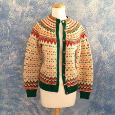 Vtg 50's Norwegian Cardigan Rockabilly Sweater, Size S