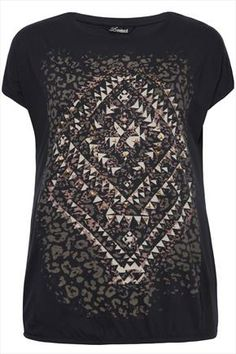 Charcoal+Grey+Aztec+Print+T-shirt+With+Bubble+Hem+48279