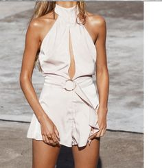 fb849e93dcd White Sexy Halter Cut Out Backless Playsuit Backless Playsuit