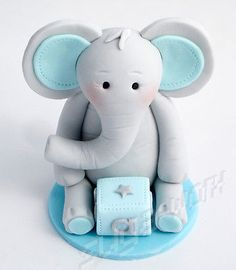 #Handmade sugarpaste elephant #birthday/christening cake topper #decoration,  View more on the LINK: http://www.zeppy.io/product/gb/2/131749339514/