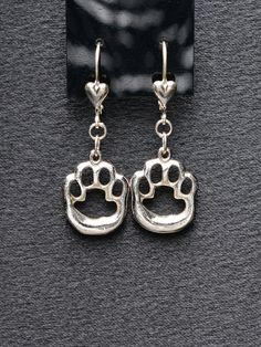 Sterling Silver Cat Paw Print Earrings By Donna Pizarro from her Animal Whimsey Collection of Fine Cat Jewerly
