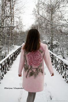 Пальто валяное Розовая нежность – купить в интернет-магазине на Ярмарке Мастеров с доставкой