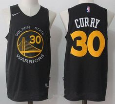 042b6a0de Men s Golden State Warriors Stephen Curry Black with Yellow Nike Swingman Stitched  NBA Jersey