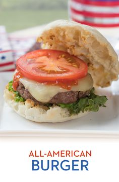 All-American Burger: Declare independence from boring burgers! Start with the basics - lettuce, tomato and ketchup - but add some flair to your backyard feast with Swiss cheese and a Thomas' Original English Muffin bun. Now that's more like it!
